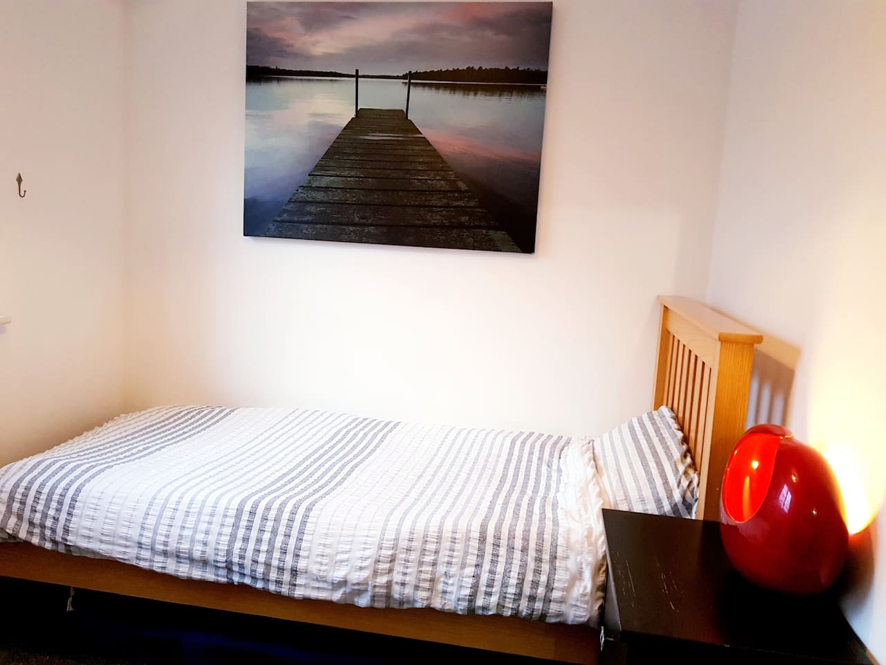 Spacious single bed room that can be reconfigured using the mattress under the bed to sleep two people. free Wi/-Fi, plenty of storage space. nice desk with PC monitor (no speakers) to connect your laptop to for working or watching online media