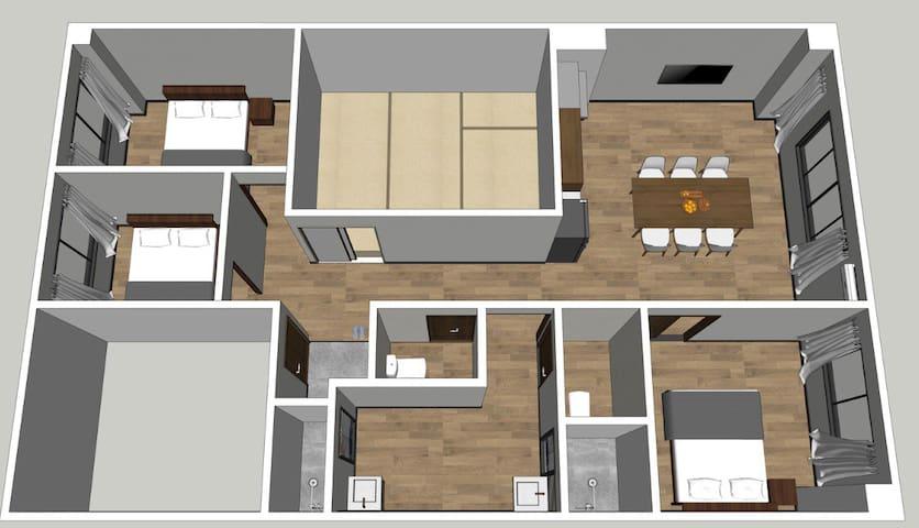 「301号室」大阪黑門市場2分鐘 日本橋站3分鐘「103 m² 四室一厅两卫两浴户型」