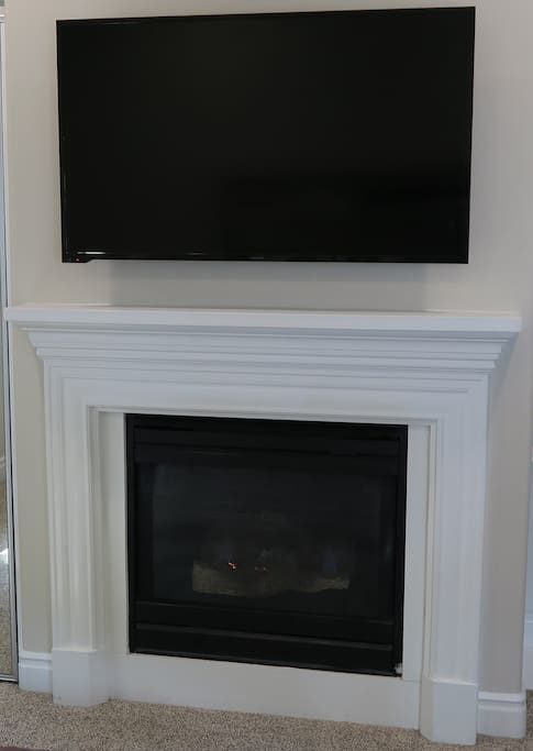 Flat screen TV w/ cable & fireplace