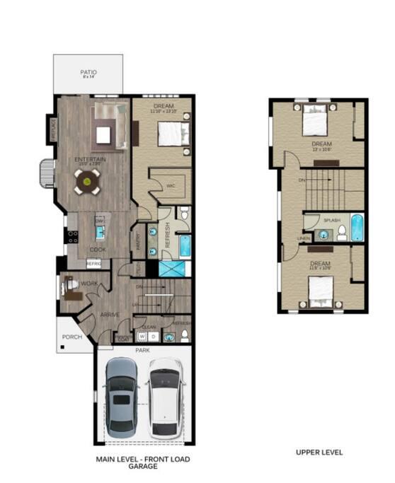 Floor plan, corner Unit, main floor master, office/twin