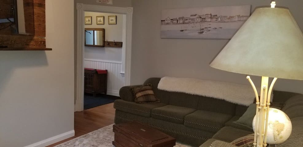 comfy living room with sofa bed inside, adjustable TV on the wall,