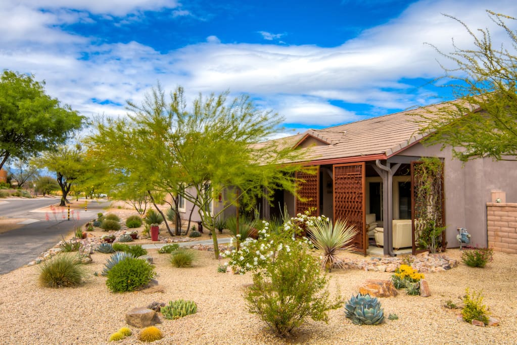 Civano Treasure in the Desert. Located the the Extremely Desirable Civano Neighborhood.   Situated on a third -acre lot overlooking the Rincon Mountains and Pantano Wash Basin Area.