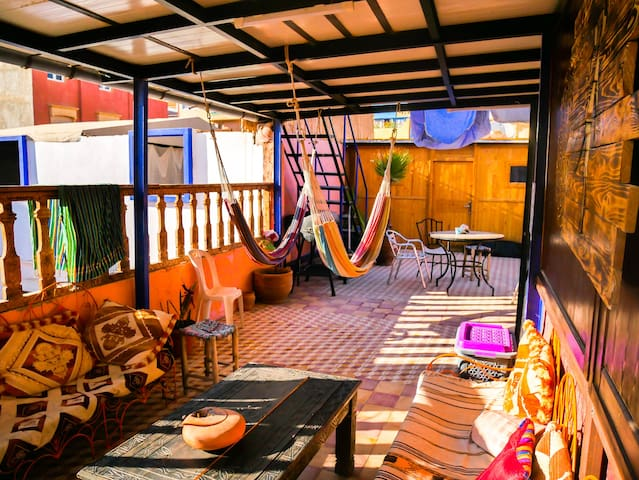 Enjoy the big terrace with the hammocks and nice view.