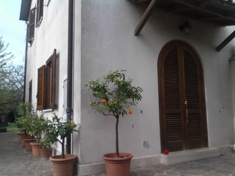 Questa è la porta d'ingresso della casa in affitto