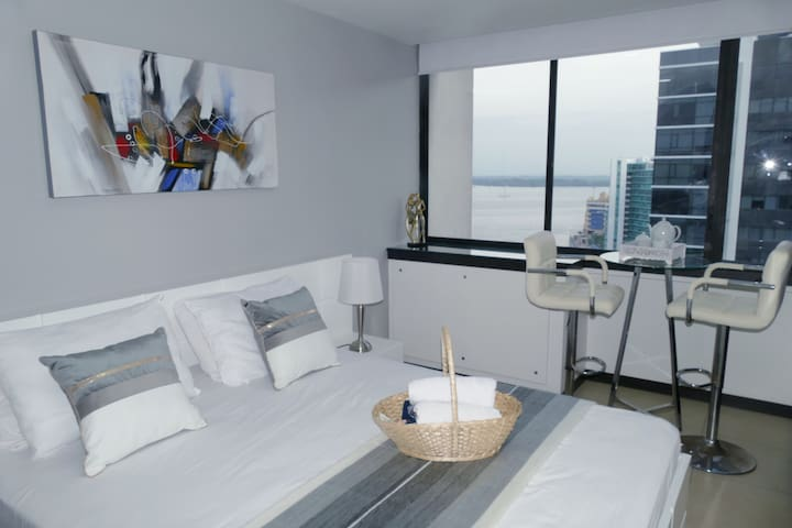 """Ecusuites +593967593762 +593939151538 Independent Entrance. Beautiful Room with River view in """"Torres Bellini"""".  Private Bathroom, Queen size bed, Direct TV, High speed Internet, A/C, hot water, Dining Room, Refrigerator, Microwave, Washer Dryer."""