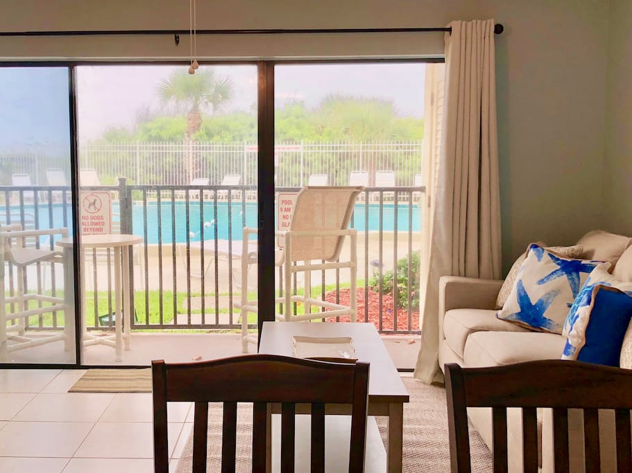 Ground floor unit with view of the pool