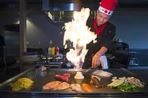 4 minutes to Desaki Japanese restaurant - enjoy the hibachi fire show!