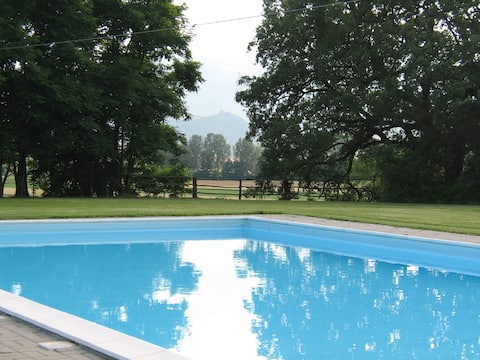 Large farmhouse in old farm with pool and animals
