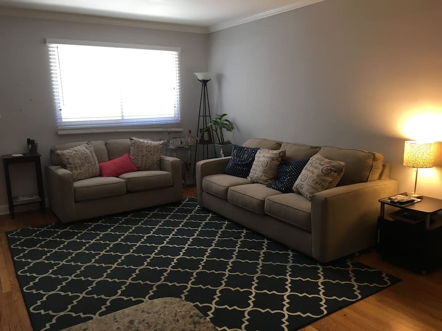 Pullout sofa with love seat