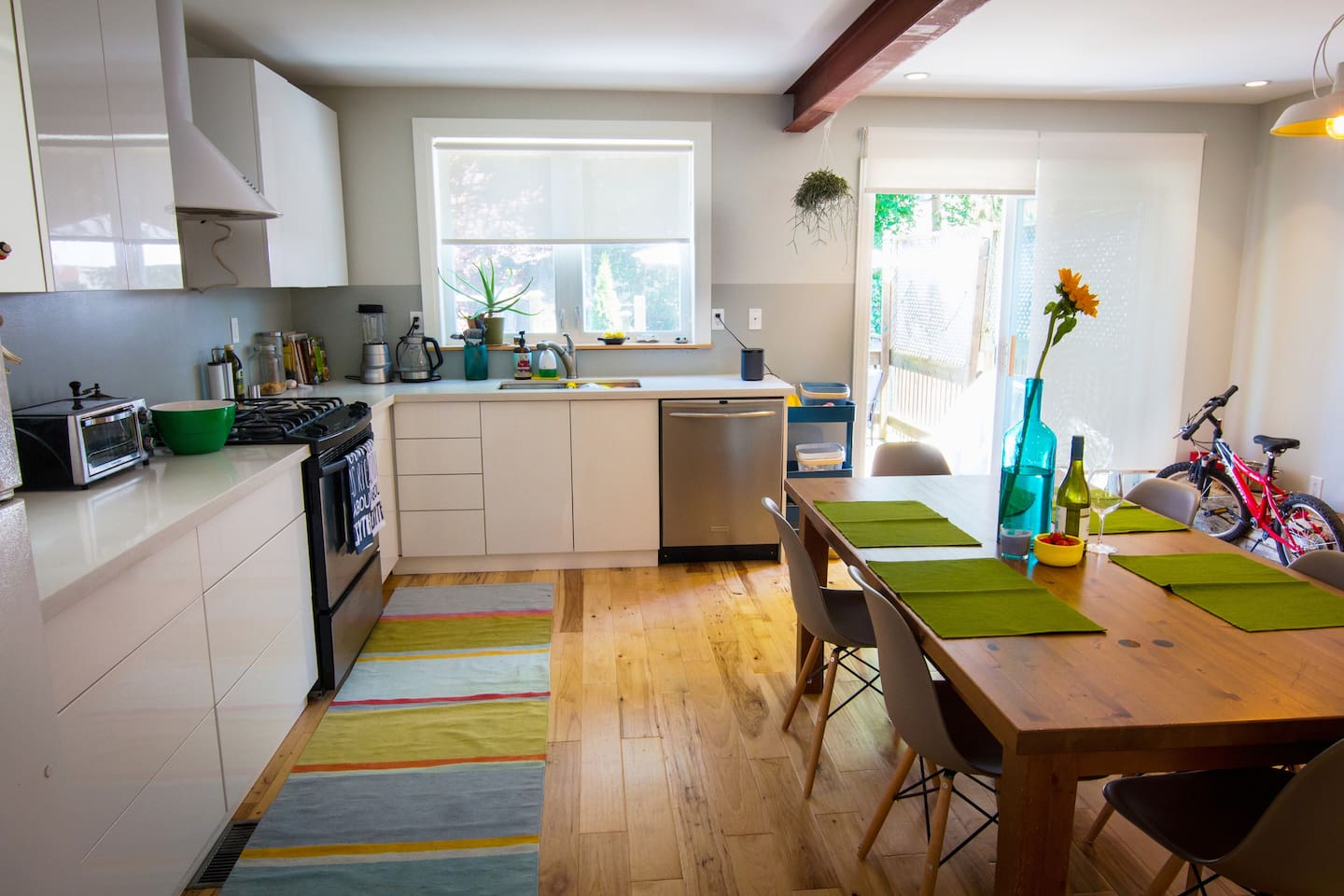 Our eat-in kitchen easily sits 6, for relaxing communal dining.