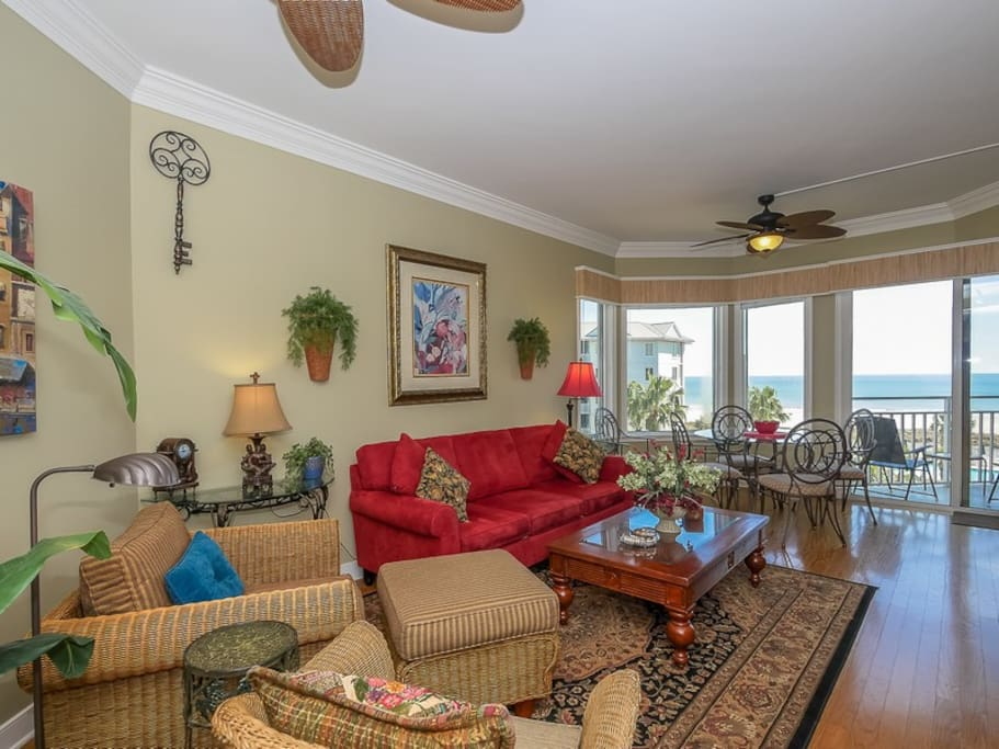 Living Room with Ocean Views at 1405 SeaCrest