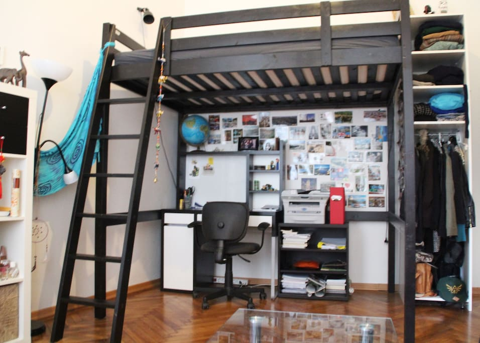 you have entrance to: bedroom, bathroom, toilet, kitchen (and you´ll be living together with my two lovely roommates)