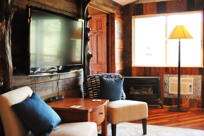 Main level living area of cabin features a fireplace and HDTV with Netflix and Disney+.