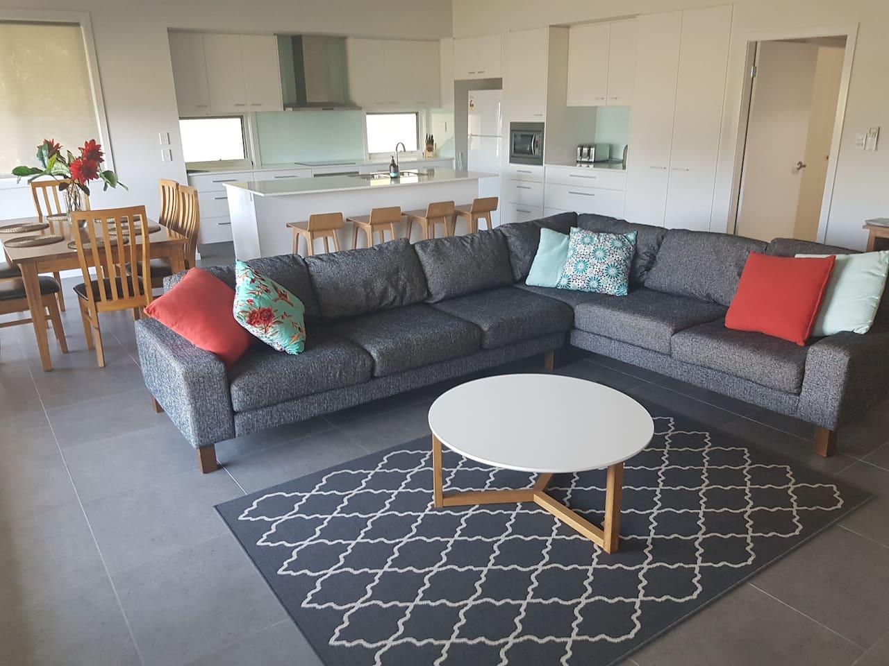 Spacious open plan Interior - Lounge, Kitchen & Dining