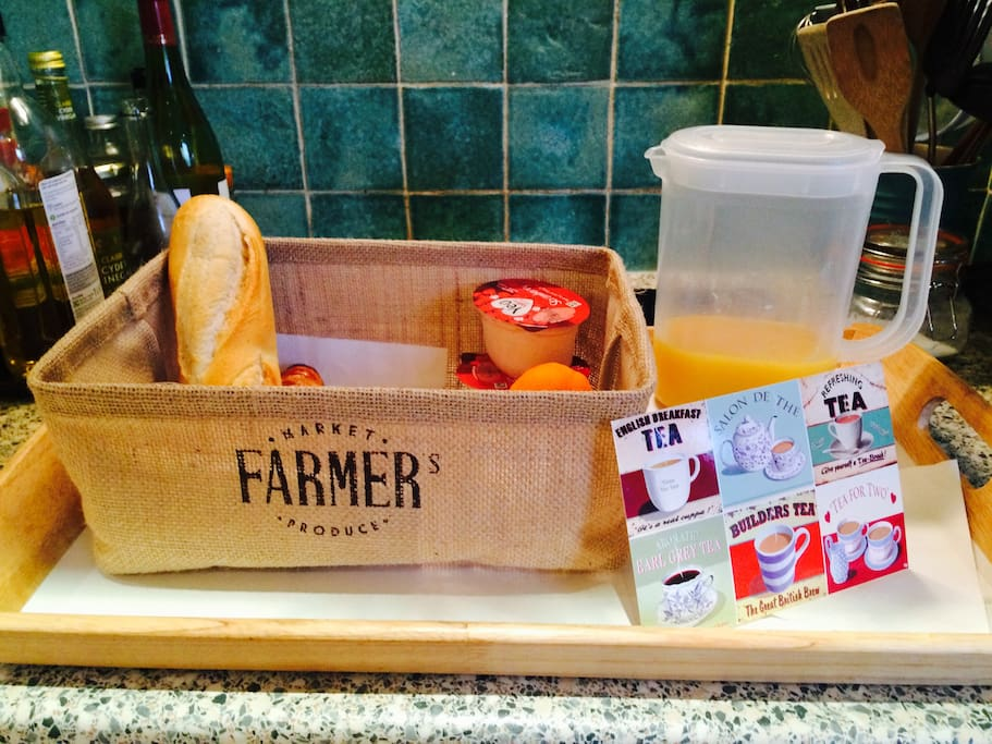 Breakfast hamper served on the first morning of your stay
