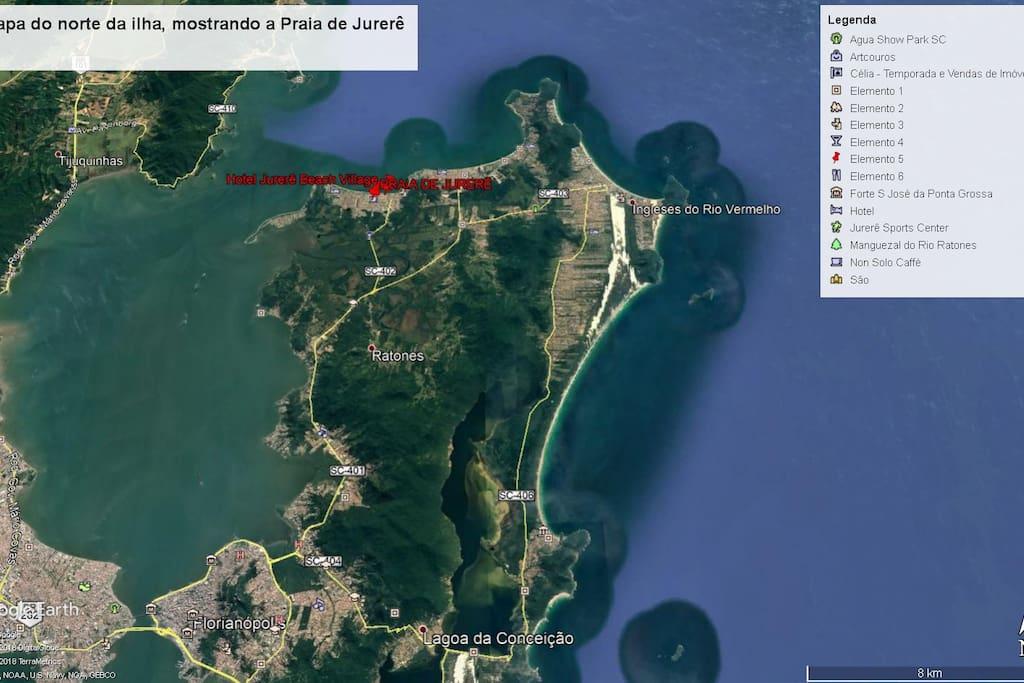 Estradas de acesso à Praia de Jurerê
