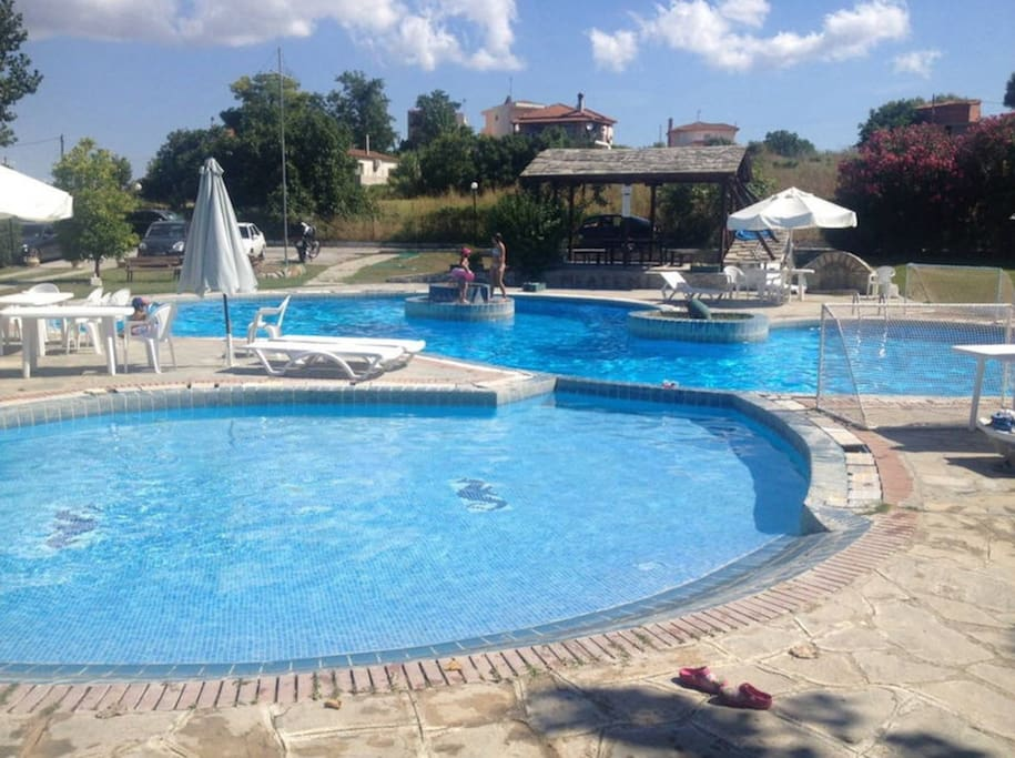 The pool in the summer!