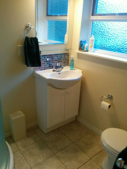 newly renovated washroom with shower