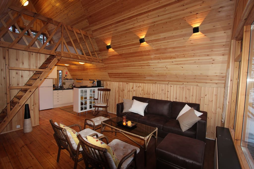 Living room, kitchen and loft.