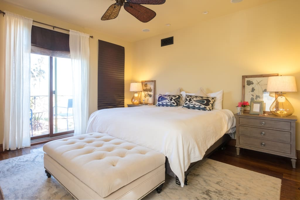Ocean waves can be seen and heard from the master bedroom