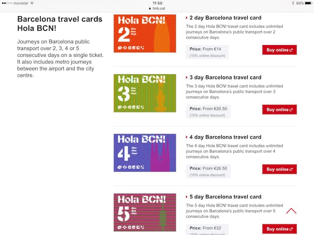 Transport cards for 2-3-4-5 days