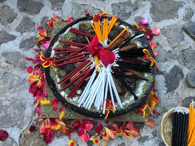 We have space here for Mayan fire ceremony and we can connect you to spiritual guides like Carlos Barrios who can perform a ceremony of thanksgiving, or for healing, or whatever your heart has in mind, right here in the comfort and privacy of  home