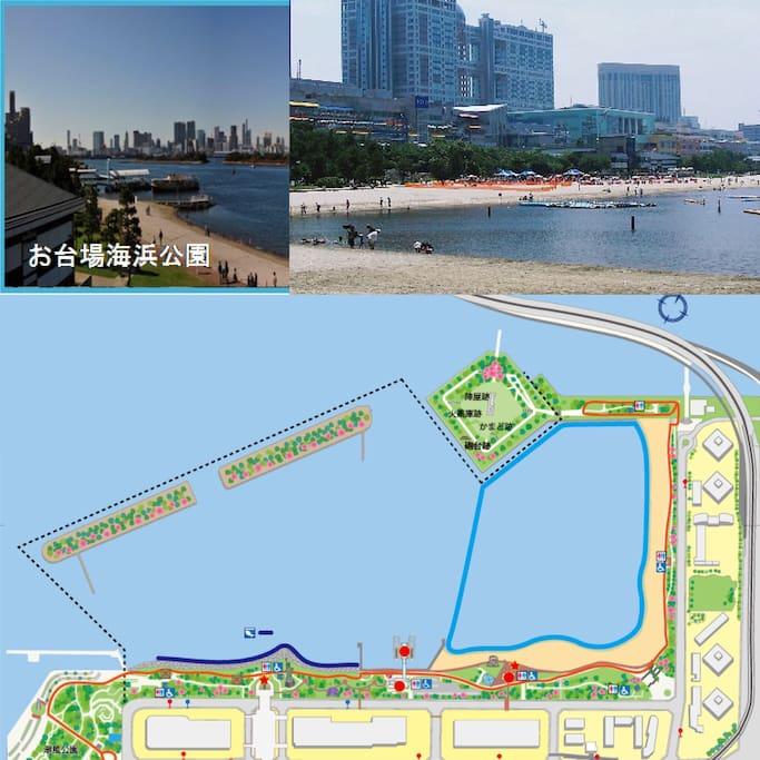 お台場海浜公園に位置する、ビーチを一覧できる高級高層住宅、都心部の贅沢な体験をしませんか?  駅から徒歩3分、目の前に砂浜広がり、shopping mallも隣接、