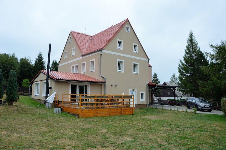 Spacious cottage with 7 bedrooms, 3 bathrooms and sauna in the Ore Mountains