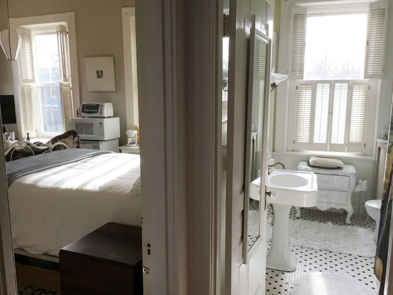 Your room and private bathroom are at the very front of the house on the second floor.