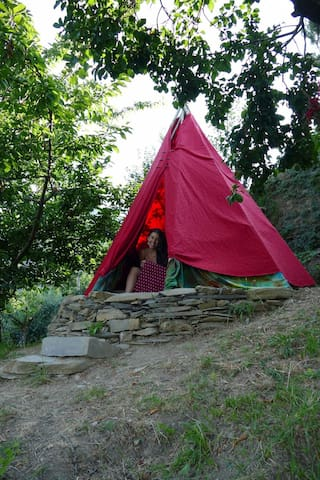 @gatetothewild Extreme camping in Romantic teepee