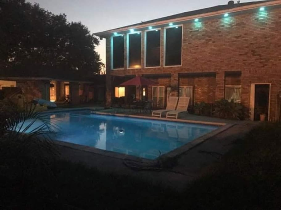 Serene peaceful evening view of the pool