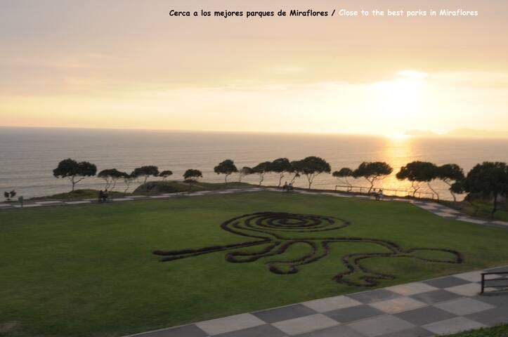 Cerca a los mejores parques de Miraflores / Close to the best parks in Miraflores