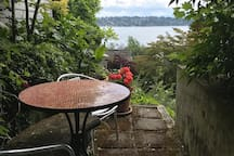 Second private sitting area outside of living room with stunning views of Lake Washington.