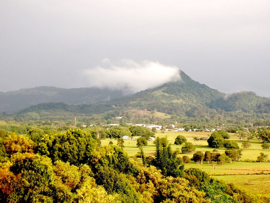 Mullumbimby town nestled below Mt Chincogan.