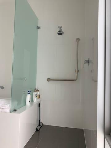 Shower in bathroom/washroom