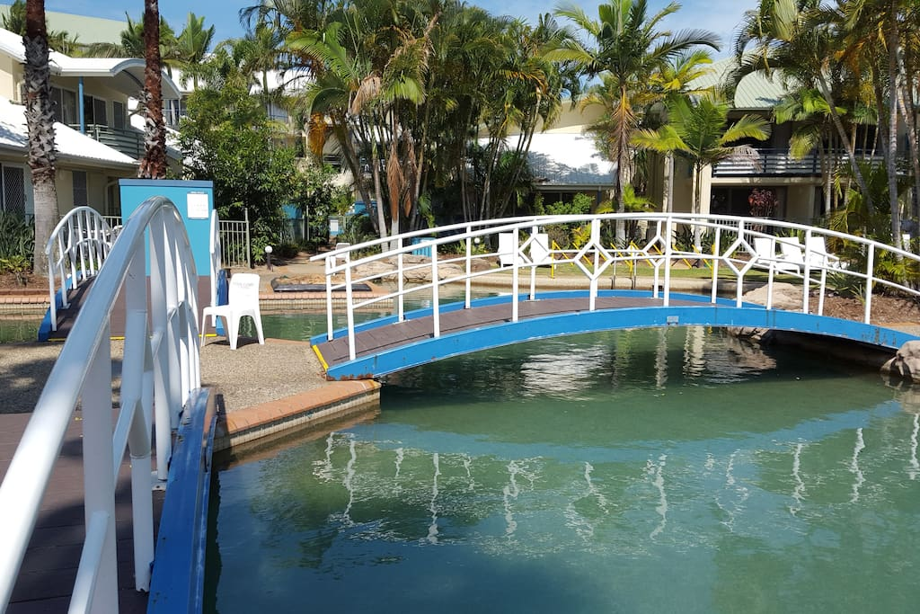 Bridge to paradise! Salt water pool and warm water pool and spa.