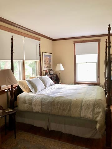 The Gold Room has plenty of natural light and looks out onto the spacious backyard and the Maryland foothills. Located on the lower level, it has its own private bathroom.