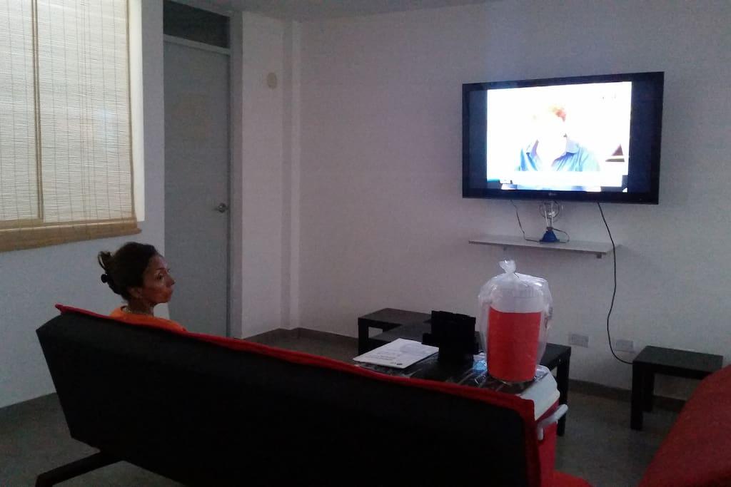 Living con televisor de 45 pulg.