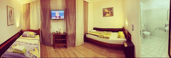 Zweibettzimmer mit Badezimmer im Hotel Destille
