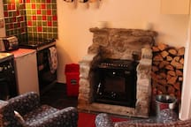 Cosy stove in the kitchen