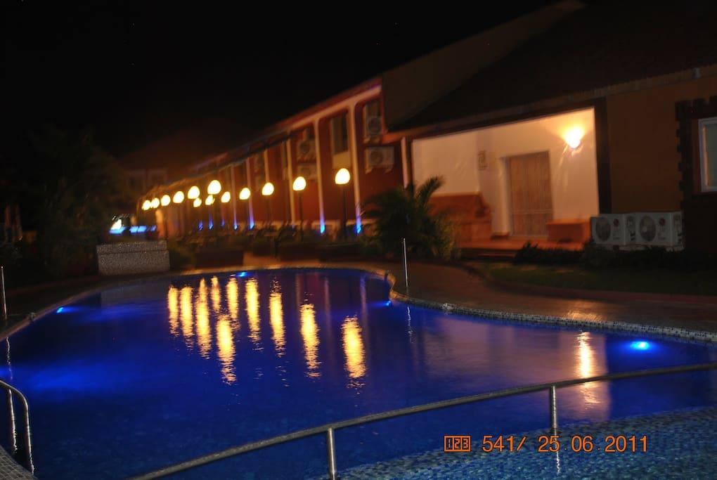 night view of  the villa