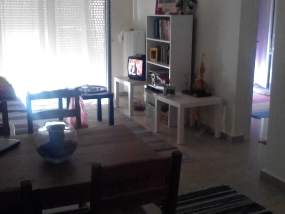 Common area- Living room with dining table, television and a big balcony