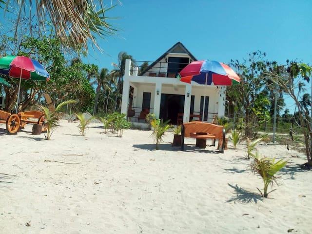 The beachfront villa