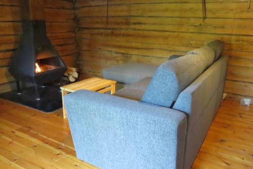 Fireplace & sofa (in summertimes extra bed 2pers.)