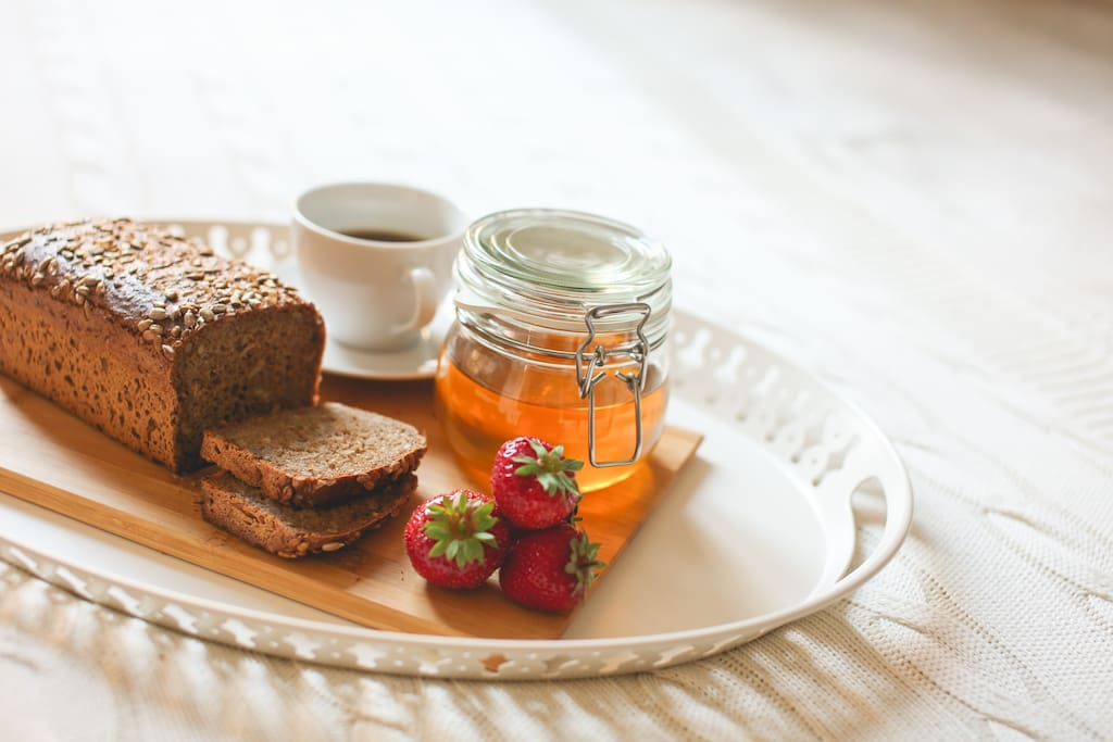 and when you wake up a lot of goodies in the apartment will be waiting for you..:) I provide selection of tea and coffee, muesli, cereals, milk, dried fruits, jam and some honey, all tasty and organic. Fresh bread and fresh fruits ON DEMAND only - please understand, I want to avoid wasting food.