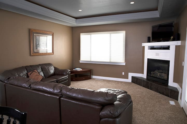 Living Room upstairs has a couch bed and a gas fireplace