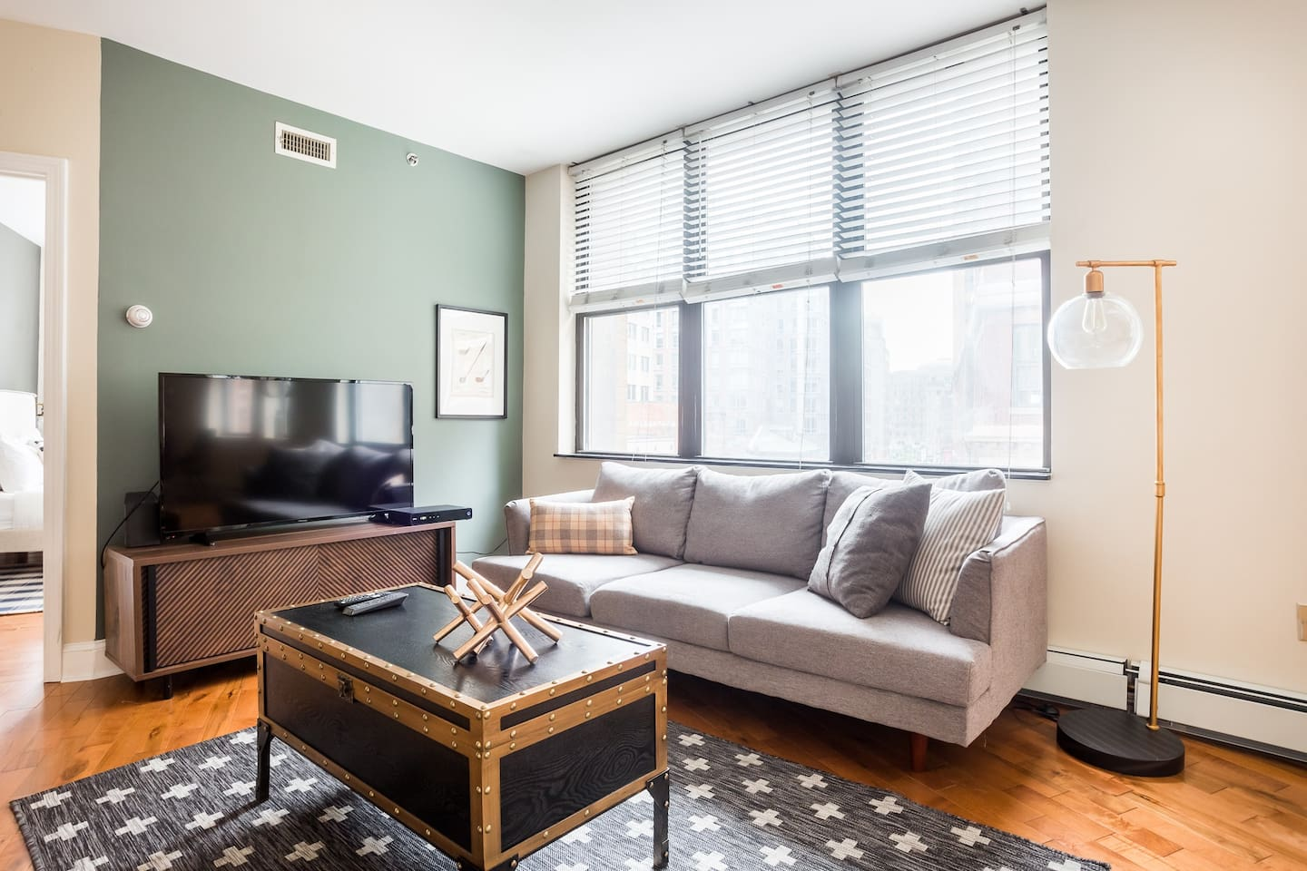 Newly refinished hardwood floors, cable tv and internet.  Living room has additional seating area.