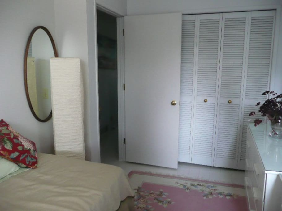 Single room with large closet and drawers.