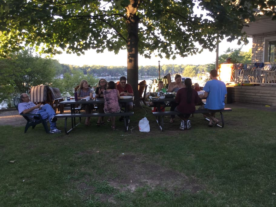 Fun family dinners outdoors.
