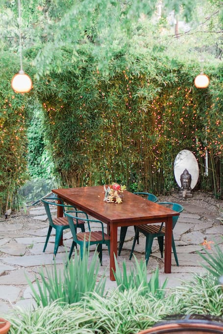Dine al fresco for breakfast or dinner in your private yard.  Entertain a small dinner party under warm lights.